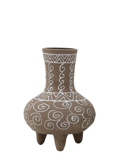 Warm Design El-Boyaması Terra Cotta Ayaklı Vazo  Kahve